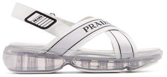 Prada Bubble Sole Cross Strap Slingback Sandals - Womens - White