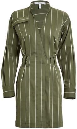 Derek Lam 10 Crosby Striped Sateen Utility Wrap Dress
