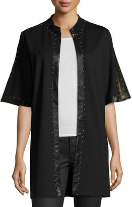 Grayse Studded Jacket with Faux-Leather Trim, Black $325 thestylecure.com