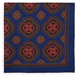 Bigi Men's Large-Medallion-Print Silk Twill Pocket Square - Navy