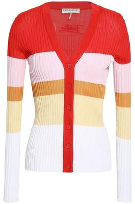 Emilio Pucci Striped Ribbed Cotton Cardigan