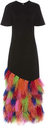 Prabal Gurung Fagu Feathered Silk Maxi Dress