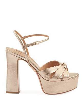 Aquazzura Baba Plateau Washed Leather Platform Sandals