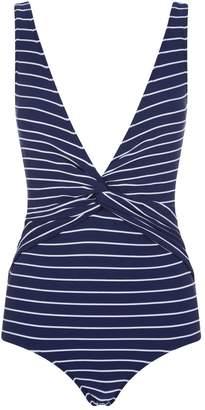 Jonathan Simkhai Striped Twisted V-Neck Swimsuit