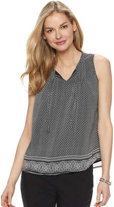 Croft & Barrow Petite Print Chiffon Swing Tank