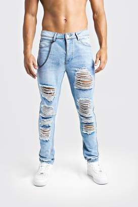 boohoo Skinny Fit Jeans With Heavy Distressing