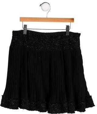 MonnaLisa Girls' Pleated Metallic-Trimmed Skirt