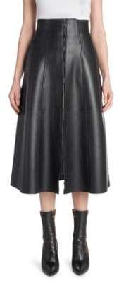 Fendi Leather Zip-Up Midi Skirt