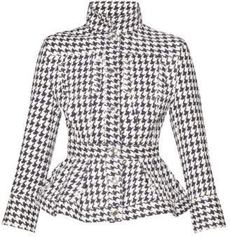Alexander McQueen Houndstooth Print Denim Peplum Jacket - Womens - White Multi