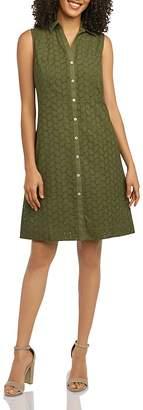 Foxcroft Sleeveless Cotton Eyelet Shirt Dress