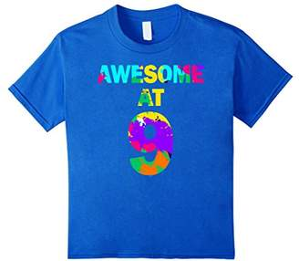 Kids 9th birthday gift shirt for 9 year old girl boy awesome at