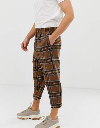 Asos Design DESIGN drop crotch tapered smart pant in brown wool mix check