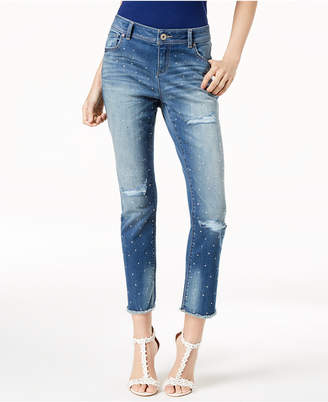 INC International Concepts I.N.C. Curvy-Fit Studded Frayed-Hem Jeans, Created for Macy's
