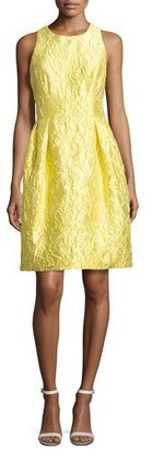 Carmen Marc Valvo Sleeveless Floral Brocade Cocktail Dress, Yellow $595 thestylecure.com
