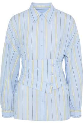 Tibi Striped Cotton-Blend Poplin Shirt