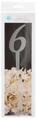 Darice Number On Stick 6 Silver Mirror
