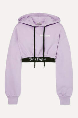 Palm Angels Cropped Jaquard-trimmed Cotton-terry Hoodie - Lilac