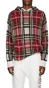 R 13 Men's Plaid Birdseye-Knit Cashmere Hoodie-Red