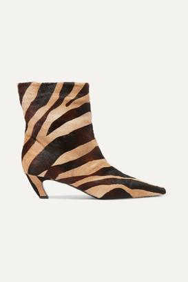 KHAITE Zebra-print Calf Hair Ankle Boots - Zebra print