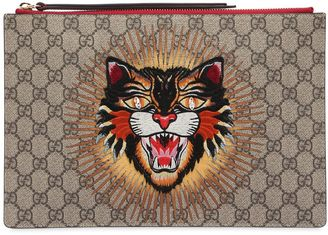Gucci Angry Cat Patch Gg Supreme Pouch