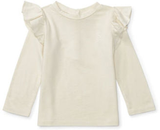 Ralph Lauren Childrenswear Baby Girls Ruffle Knit Jersey Top $29.50 thestylecure.com