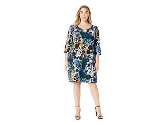 Calvin Klein Plus Plus Size Printed Dress w/ Faux Leather Hardware