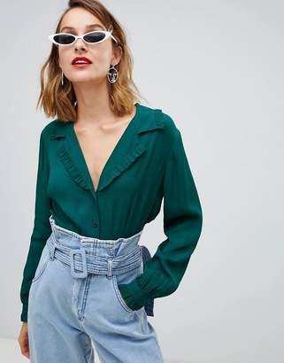 Asos Design DESIGN waisted tea blouse with collar detail
