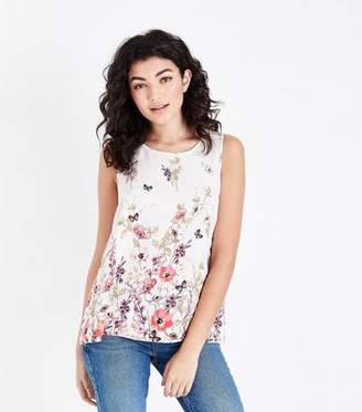 New Look White Floral Border Print Split Back Top