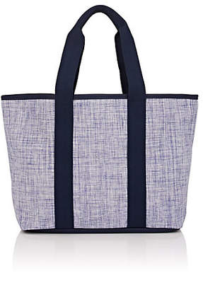Barneys New York WOMEN'S LEATHER-TRIMMED WOVEN TOTE BAG - BLUE