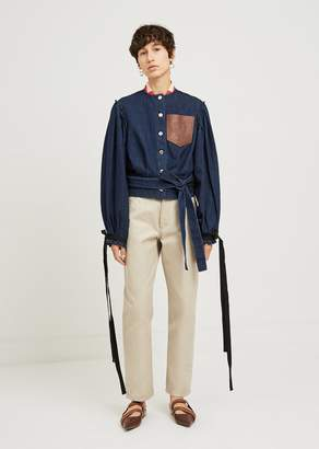 J.W.Anderson Leather Pocked Cropped Denim Jacket