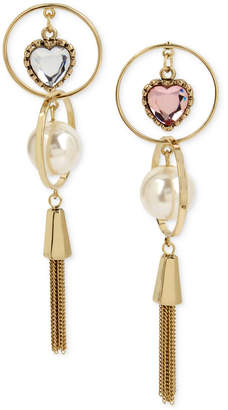 Betsey Johnson Gold-Tone Imitation Pearl & Crystal Heart Mismatch Fringe Drop Earrings