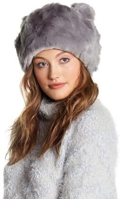 Natasha Accessories Bear Ears Faux Fur Beanie
