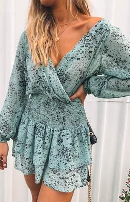 Beginning Boutique Paislee Long Sleeve Dress Green Print
