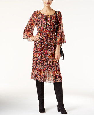 INC International Concepts Geometric-Print Peasant Dress, Only at Macy's $89.50 thestylecure.com