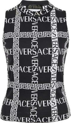 Versace Logo Cotton-Blend Crop Top