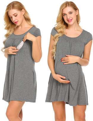 Ekouaer Hospital Nursing Gown, Breastfeeding Sleep Dress Delivery Gowns(Grey,)