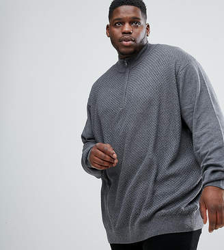 Jacamo PLUS Fine Knit Sweater In Charcoal With Zip Detail