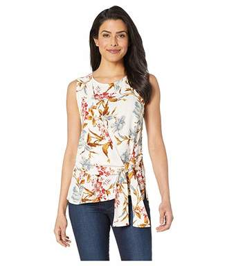 Vince Camuto Sleeveless Asymmetrical Tie Front Graceful Wildflower Blouse