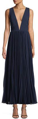 Fame & Partners Allegra Pleated Plunging V-Neck Evening Gown