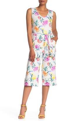 Velvet Torch V-Neck Tie Waist Floral Cropped Jumpsuit