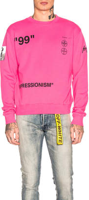 Off-White Off White Boat Self Crewneck Sweatshirt in Fuchsia Multi | FWRD