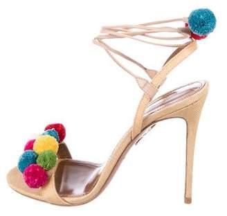 Aquazzura Pom-Pom Straw Sandals
