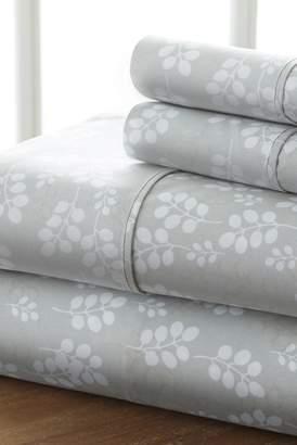 IENJOY HOME Home Spun Premium Ultra Soft Wheat Pattern 4-Piece Full Bed Sheet Set - Gray