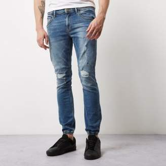 River Island Mens Mid blue wash Ryan jogger jeans