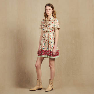 Sandro Printed Shirt Dress With Open Back