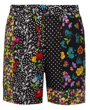 Versace Floral Print Silk Satin Twill Shorts - Mens - Multi
