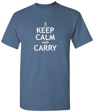 Hunter Feelin Good Tees Keep Calm and Carry Gun 2nd Amendment Funny T Shirt 2XL