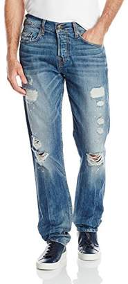 True Religion Men's Phantom Logo Geno Relaxed Slim Destructed Jean