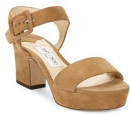 Jimmy Choo Harriet Suede Ankle Strap Sandals