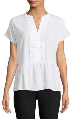 Lord & Taylor Short-Sleeve Peplum Top